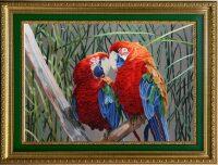 "Картина на шёлке ""Любовь. Попугаи"""