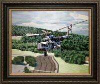 """Картина на шёлке """"Вертолет МИ 8 МТ"""""""