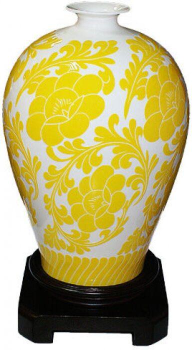 """Ваза  Glance """"Цветы""""  желтая с белым- 0"""