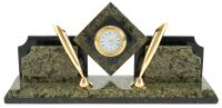 """Настольный набор из камня """"Ромб"""" с часами"""
