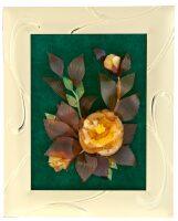 """Панно из янтаря """"Роза"""" (26 см, цвет зеленый, """"золото"""")"""