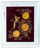 "Панно из янтаря ""Колибри"" (32 см, цвет бордо, ""золото"")"
