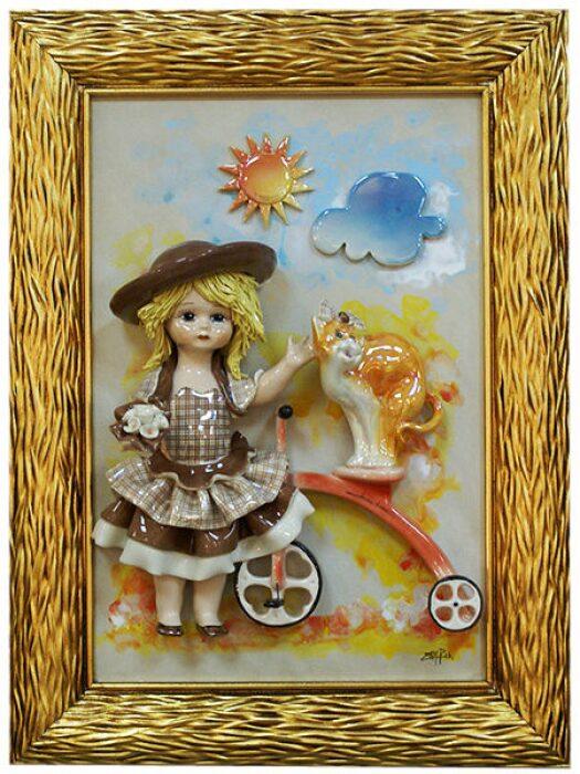 """Картина прямоугольная  Zampiva """"Кукла стоящая около велосипеда""""- 0"""