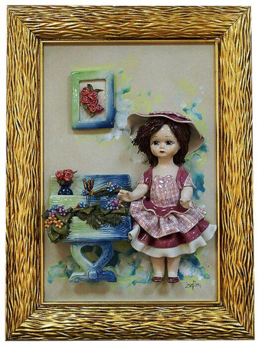 """Картина прямоугольная  Zampiva """"Кукла стоящая у подставки с цветами"""" - 0"""