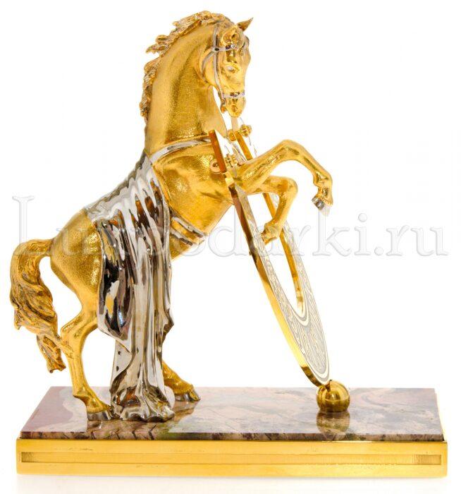 """Статуэтка бронзовая """"Конь с подковой """"На счастье"""" яшма на прямоугольной подставке- 2"""