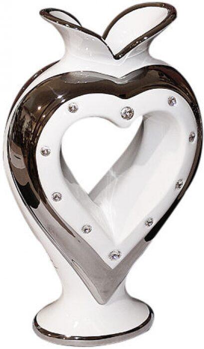 "Ваза  Bruno Costenaro ""Сердце"" , белая с декором платинового цвета- 0"