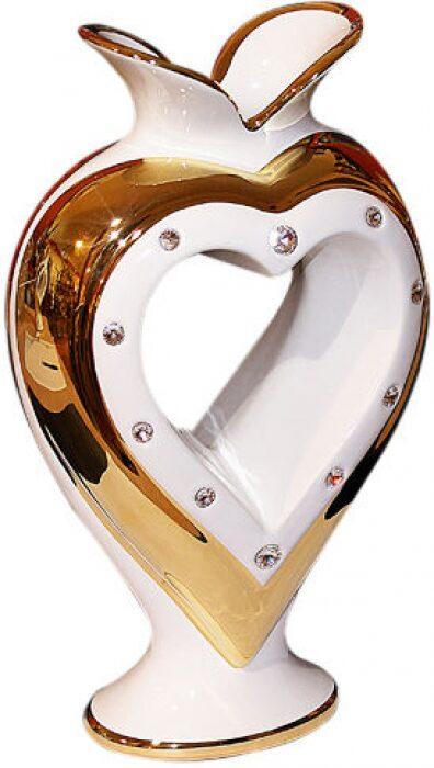"""Ваза  Bruno Costenaro """"Сердце"""" , белая с декором золотого цвета- 0"""